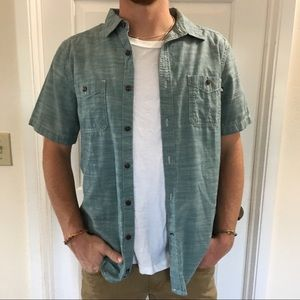 The north face blue short sleeve button down m
